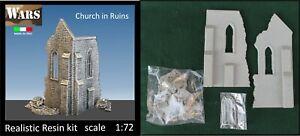 WARS 14-72 Chiesa in rovina kit resina guerra diorama WW2 Church in Ruins 1:72