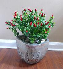 4 Red Chili Bushes Artificial Plastic Plants Pepper Grass Home Garden Decor