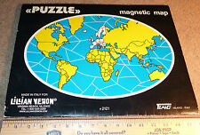 """Temag Vintage 16"""" MAGNETIC WORLD MAP Puzzle Lillian Vernon Toy Used Italy 2121"""