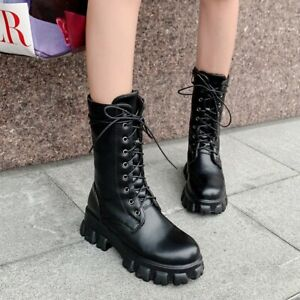 Womens Chunky Lace Ups Low Heel Ankle Boots Combat Biker Shoes Large Size 34-46
