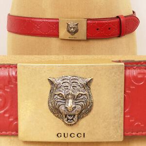 95/38 NEW $580 GUCCI Red GUCCISSIMA Leather GOLD FELINE CAT HEAD LOGO Men BELT