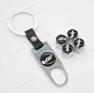 1Set For Cadillac Car Wheel Tire Valve Stems Caps Covers Keychain Styling V Logo