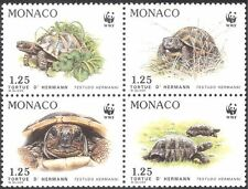 Monaco 1991 WWF/Tortoise/Animals/Nature/Wildlife/Conservation 4v blk (n33797)
