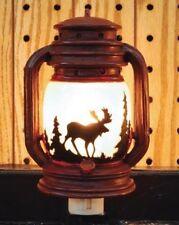 Electric Night Light Lantern with Moose Scene