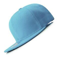 New Sky Blue FLAT Peak SNAPBACK Plain Blank Cap Dancer Hat Chapeau #flat #cap
