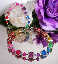 BILDSCHÖNES Collier / Halskette BUNTE CRACKLE GLAS Perlen in Silberrahmen