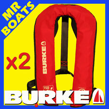 2 X ✱ BURKE ✱ INFLATABLE LIFEJACKET Level 150 (PFD1) NEW Manual Life jacket 150N
