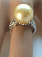 HUGE GENUINE 12MM GOLDEN SOUTH SEA PEARL DIAMOND RING 18CT GOLD VAL $6,970