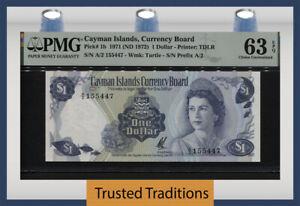 TT PK 1b 1971 CAYMAN ISLANDS QUEEN ELIZABETH II PMG 63 EPQ CHOICE UNCIRCULATED!