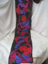 Vintage Liz Claiborne silk blend Scarf black with red magenta purple Flowers