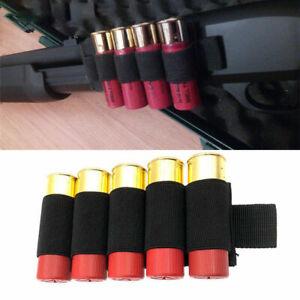 5 Round Shotgun Shell Holder Tactical Rifle Ammo Carrier Butt Stock Pouch Black