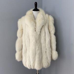 Vintage Beige Off White Ivory Fox Fur Plush Soft Coat Jacket High Fashion Chic