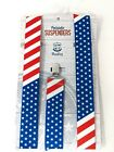 Wembley Patriotic Suspenders Fits Sizes S-XL Red White Blue Stars & Stripes USA