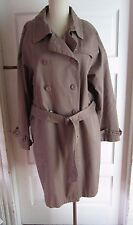 Roamans Double Breasted Belted Spy Trench Coat Womens size 18 100% Cotton Brown