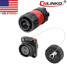 CNLINKO DH20 Aviation Connector M20 Female Plug with Male Socket Waterproof Metal Thread Panel Connector 2 Pins for AC DC Signal LED Lighting Equipment