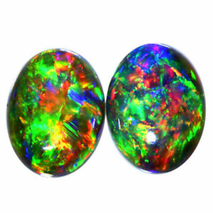 8x6MM OVAL EXTREME DIZZLER TSEHAY NR! HONEY WELO BLACK OPAL PAIR WHOLESALE PRICE