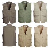 Spring Autumn Men Multi Pocket Outdoor Travel Casual Fishing Working Vest Cotton