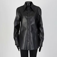 CELINE 3990$ Buttondown Shirt In Black Leather by Phoebe Philo