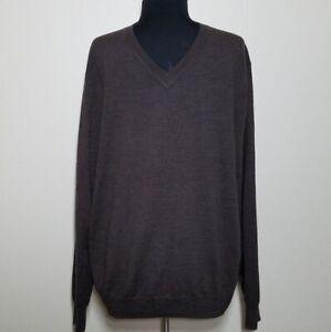 Kenneth Roberts Platinum Sweater Mens Large Soft Brown Wool Long Sleeve V-neck