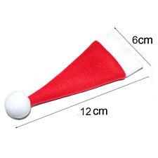 10PCS Christmas Hat Silverware Holder Xmas Mini Red Santa Claus Cutlery Bag d