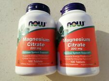 2 BOITES Magnesium Citrate 200 mg NOW 100 CAPSULES*2