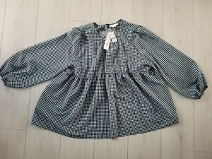 Topshop Maternity Top black & blue gingham BNWT Size 14 Forgiving sheer style