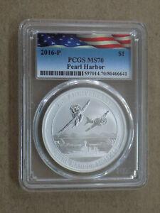2016-P Tuvalu Pearl Harbor Anniv. Commemorative $1 Silver Dollar PCGS MS70