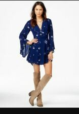 Free People Women's Jasmine Embroidered Mini Dress Blue Size 10/12 BCF65