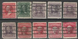 Classic Precancel Elgin Illinois  IL  lot of 10 stamps (elgin-10)
