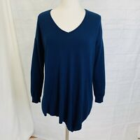 JOIE S Top Sweater Tunic Cashmere Blend Navy Blue  Hi Low Hem #S
