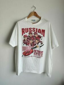 Vintage Detroit Red Wings Russian Five caricature 90's t-shirt NHL Hockey TK1094