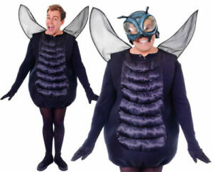 Black The Fly Fancy Dress Costume Halloween Bug Insect Costume Mens Ladies