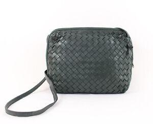 Bottega Veneta Authentic Vintage Green Intreccaciato Woven Leather Shoulder Bag