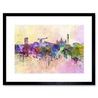 Painting Cityscape Paint Splash Skyline Glasgow Framed Print 12x16 Inch