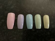 Hand Painted False Nails Coffin Long Pastel Full Cover 10 Nails 3 Sizes UK