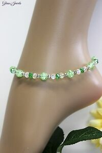Glass Stone Jewellery Silver Anklet Pearls Green Boho Ethno Length 26,5 CM #J068
