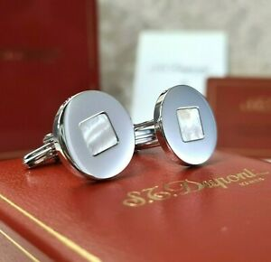 Vintage S.T. Dupont Cufflinks Silver Mother of Pearl Authentic w/ Case & Papers