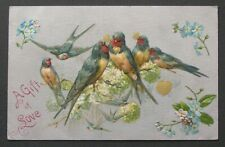 Winsch Swallows Birds w/ Gold Hearts Flowers on Blossom Branch Valentine pc
