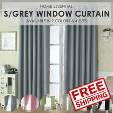 Sunlight Blackout Room Darkening Curtains 2 Panel Set - Silver Grey Size L