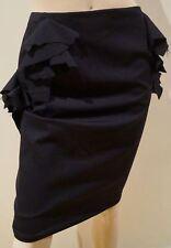 JIL SANDER Women's Black Virgin Wool Ruffle Detail Formal Evening Lined Skirt 36