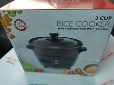 NIB: 3 C Gourmet Non-Stick RICE COOKER with Keep Warm Function by Chef's Counter