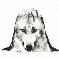 3D Weiß Wolf Muster Polyester Schulter Tasche Handtasche Schultasche Super