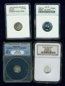 CANADA 5 CENTS CERTIFIED COINS: 1953 MS63, 1902 AU 53 DETAILS, 10 CENTS: UNC. DE