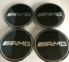4 X BLACK AMG MERCEDES ALLOY WHEEL CENTRE HUB CAPS 75MM FITS A B C E S ML CLASS