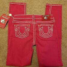 NWT True Religion girls pink Stella Super T jeans, size 12