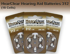 HearClear Hearing Aid Batteries size 312, 18 Pack FREE SHIPPING U.S.A.