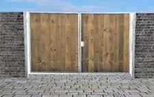 Einfahrtstor Ss Tor Verzinkt mit Pfosten & Holzfüllung 2-flügelig 200cm x 180cm