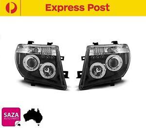 Pair Black LED Angel Eyes Projector Headlights Set Nissan Pathfinder R51 2005-10