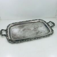 """ONEIDA 19"""" VINTAGE SILVER PLATE SERVING DRINKS COCKTAIL TRAY HANDLES HEAVYWEIGHT"""