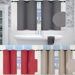 1 SET SHORT LENGTH THERMAL WINDOW BATHROOM DECOR CURTAIN CHROME GROMMETS K30
